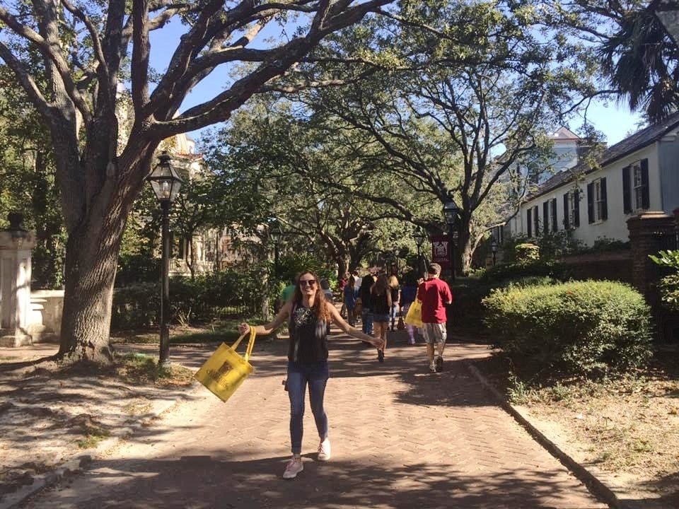 woman touring college campus