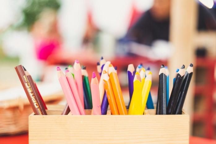 Colored pencils in a classroom