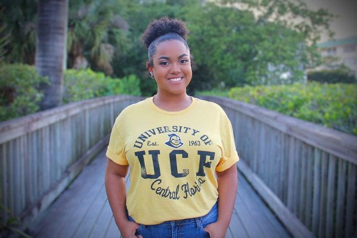 Erika Lane wearing a UCF shirt