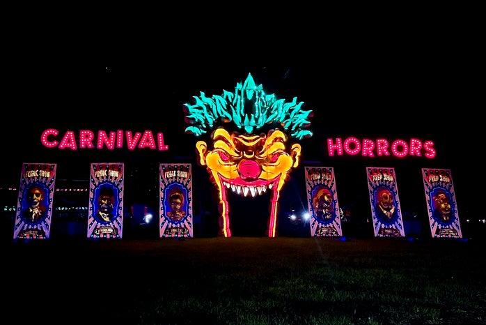 Scary light up clown halloween display