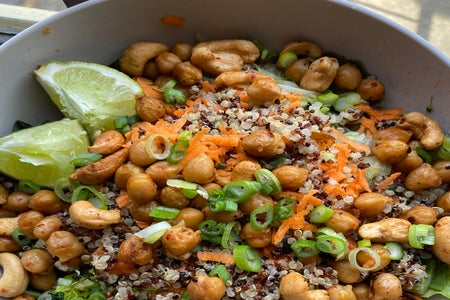 rice and chick pea bowl with veggies