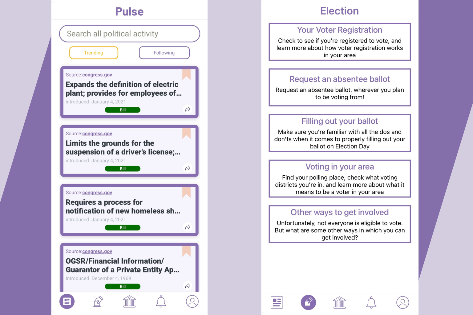 """Collage of the \""""Pulse\"""" and \""""Election\"""" features of the Swing Campaign app"""