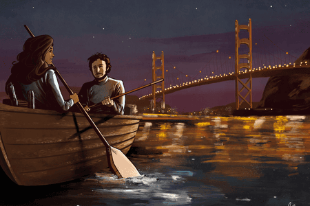 digital painting of canoeing in front of the Golden Gate Bridge