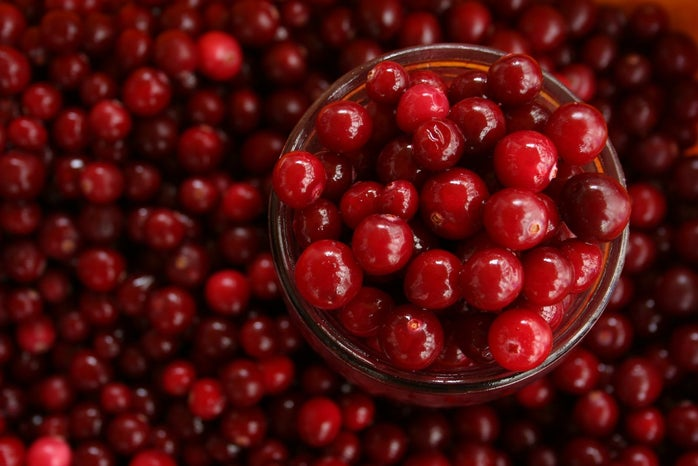 bowl of red round fruits in background of red round fruits