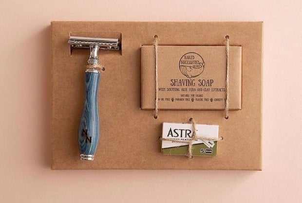 Image is of a reusable razor set for men that is sustainable