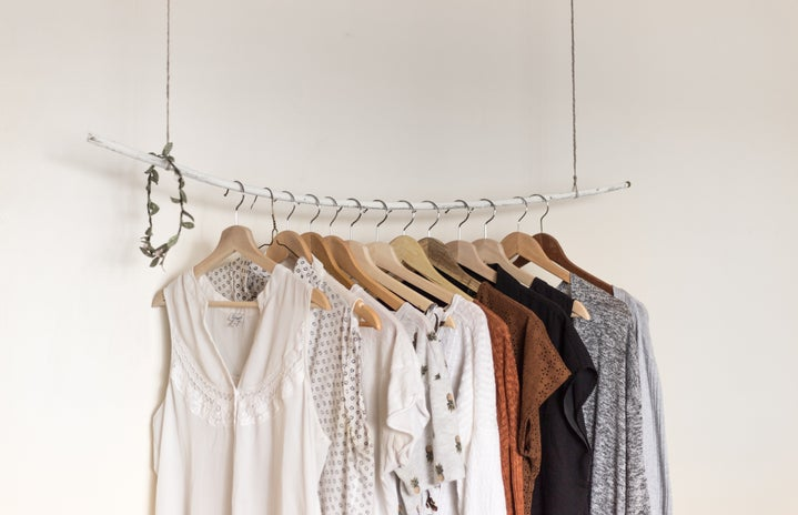 clothes on hanging rack