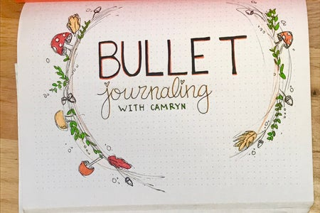 Bullet journal cover page with a fall theme designed by me, Camryn Chernick.