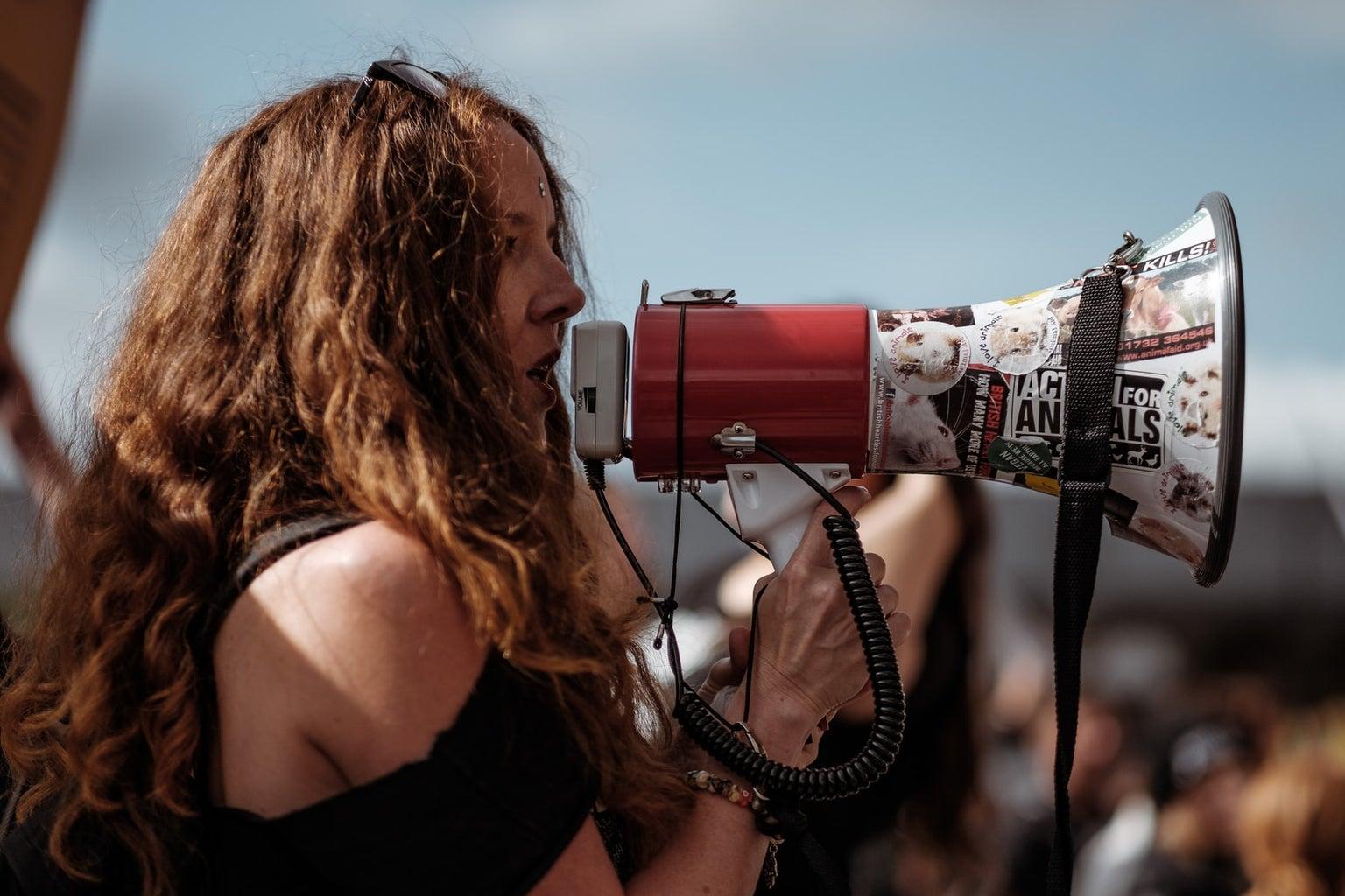megaphone protester
