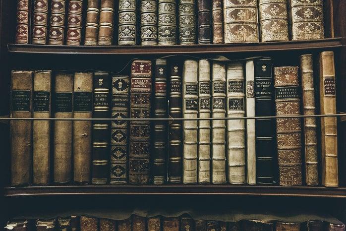 dark bookshelf
