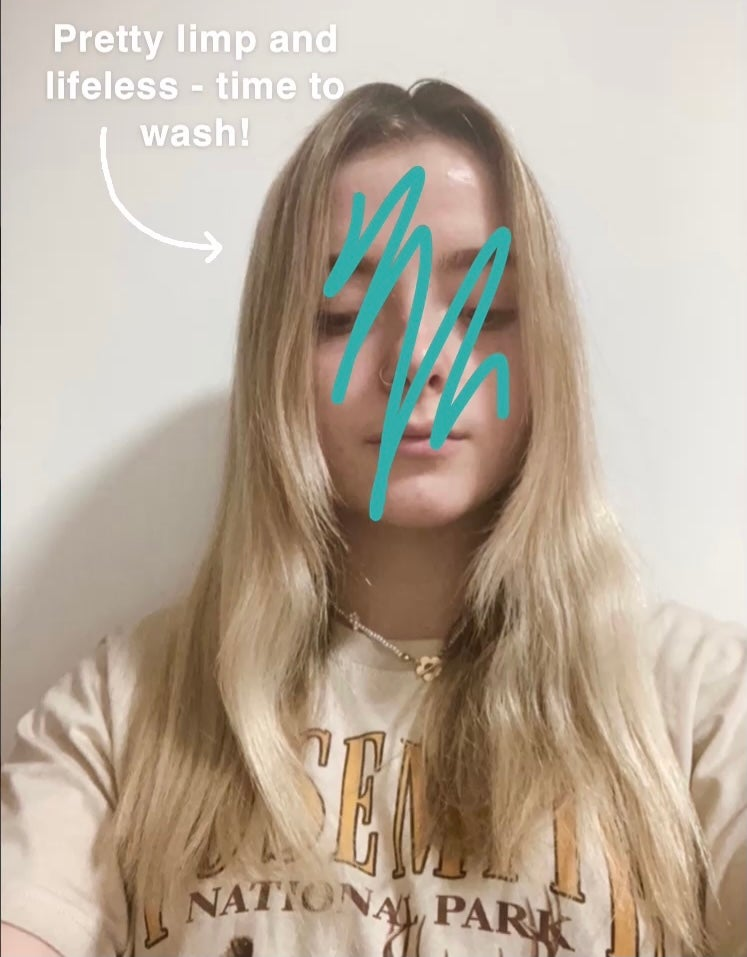 Blonde hair against white background