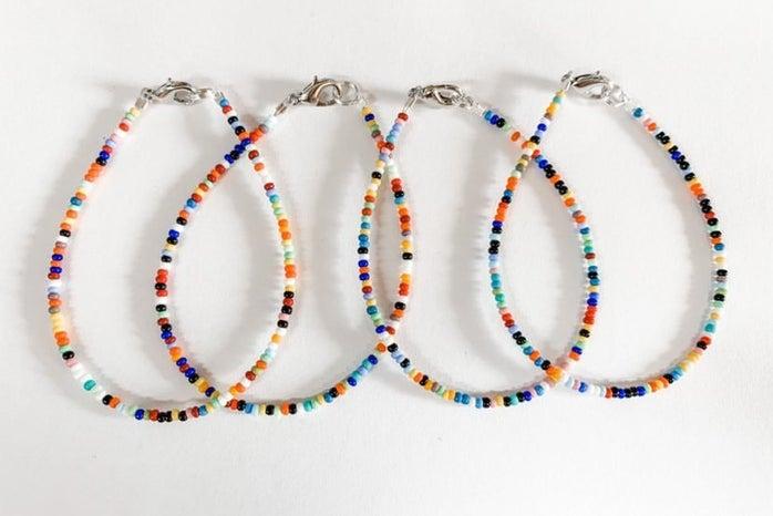 4 colourful bracelets made by Katie Antonissen, owner of Sunshine Bracelets Co.
