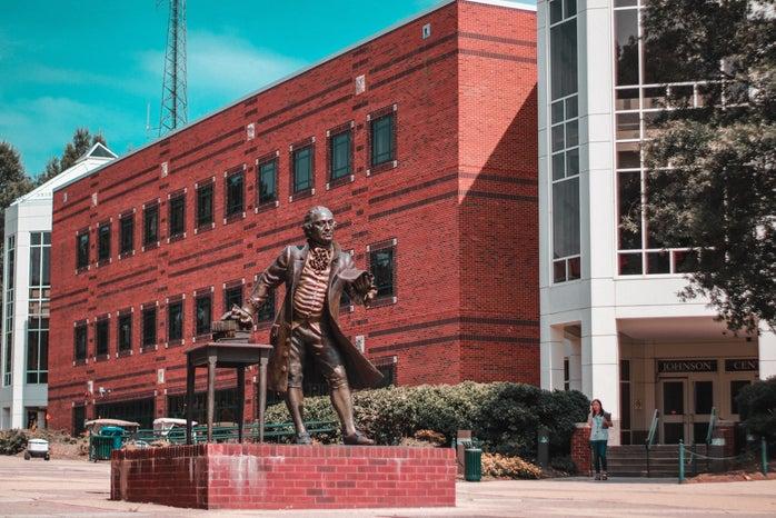 George Mason statue in front of George Mason University\'s Johnson Center
