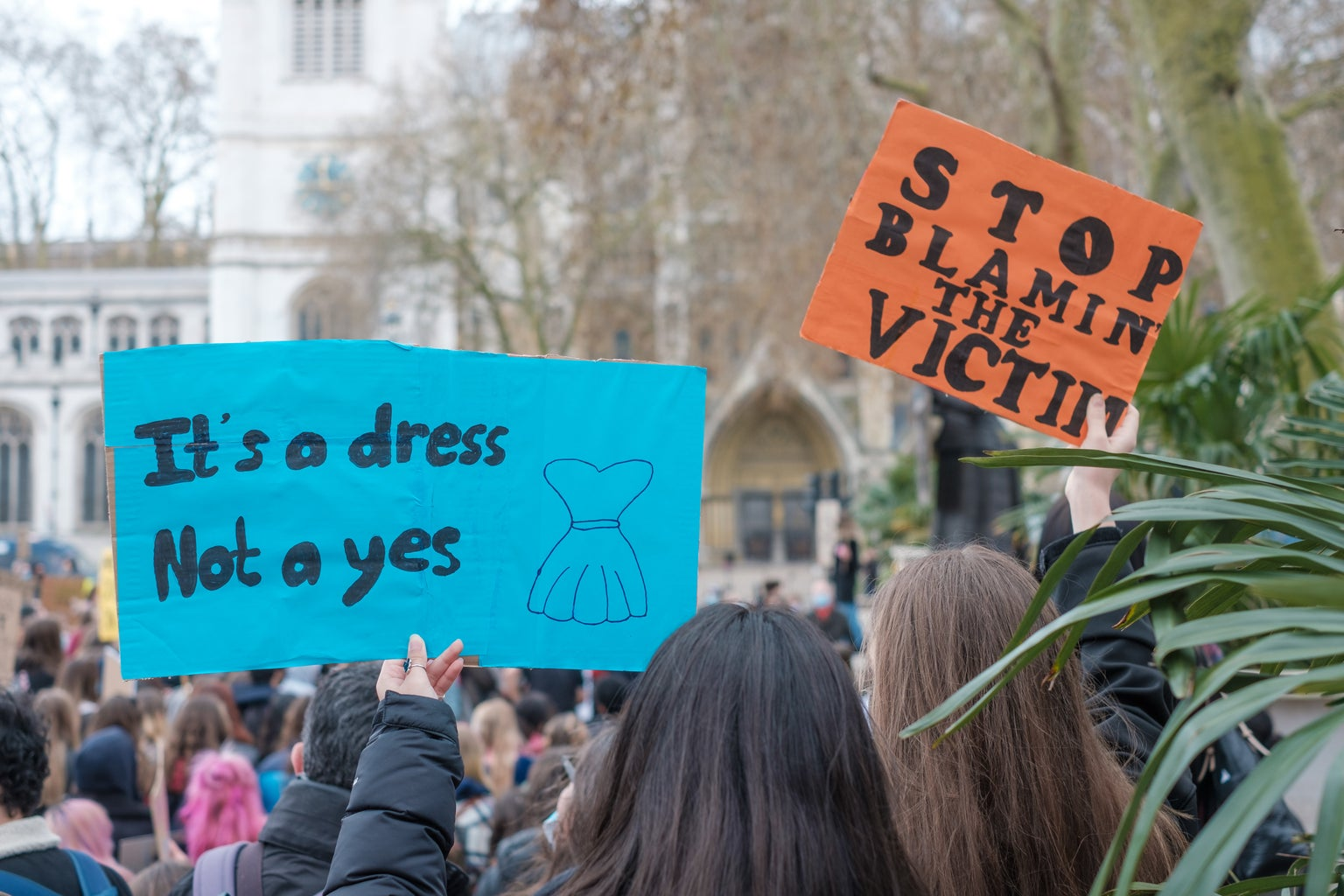 """Two signs at a protest. One says \""""It\'s a dress not a yes\"""" and the other \""""Stop blaming the victim.\"""""""