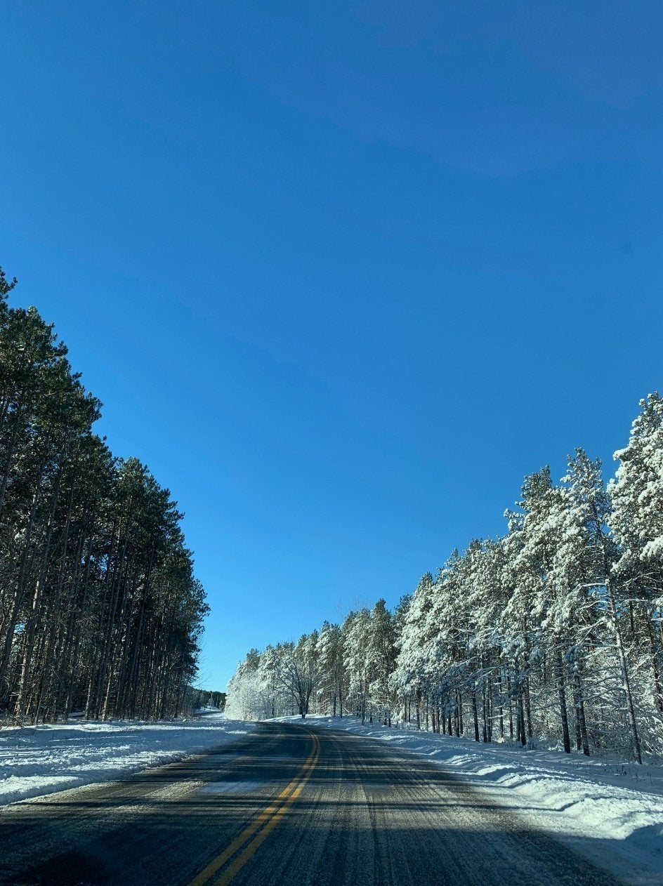 Photo of the view while driving in the car, snowy trees and road