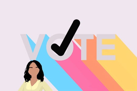 girl and a go vote graphic