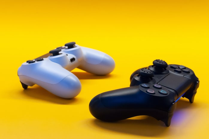 Black and white controllers, gaming