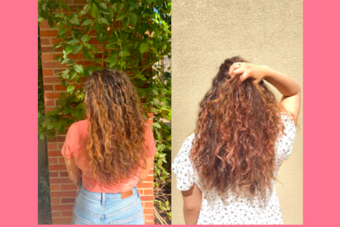 Before and after shots for a pink hair dye product.