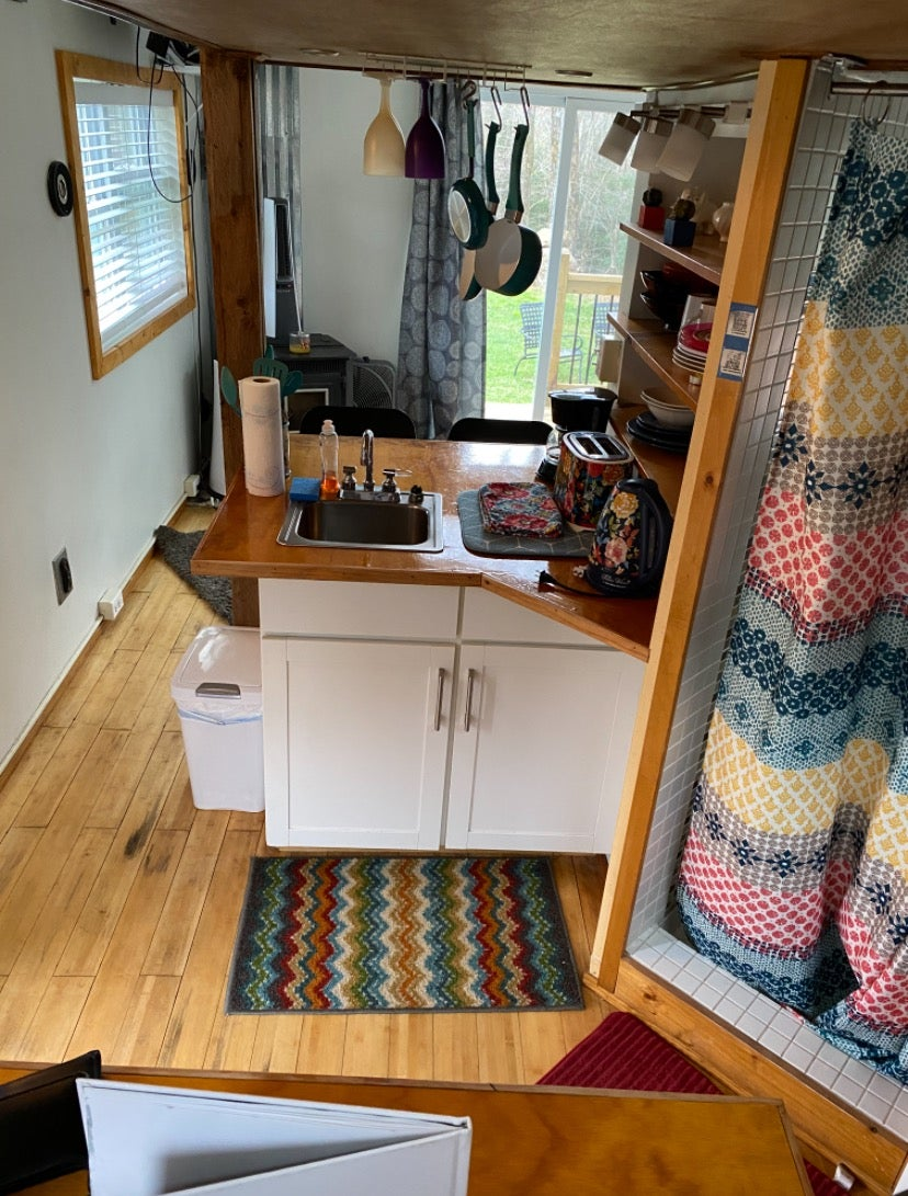 Tiny house interior - kitchen and living room