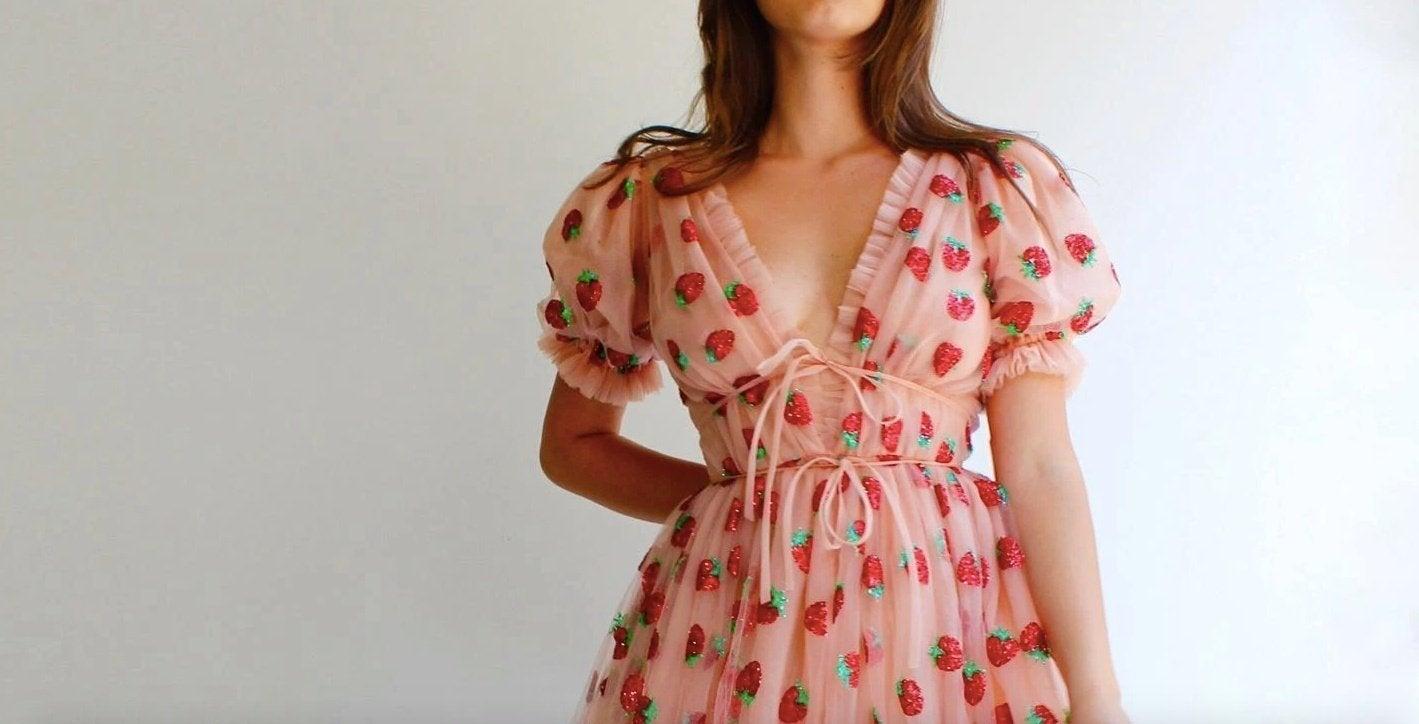 Lirika Matoshi strawberry midi dress on model
