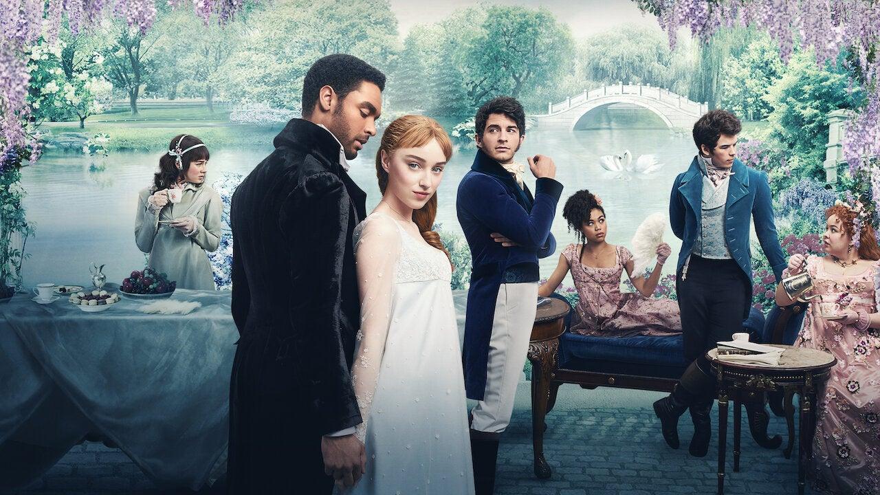 Bridgerton cast posing for Netflix poster