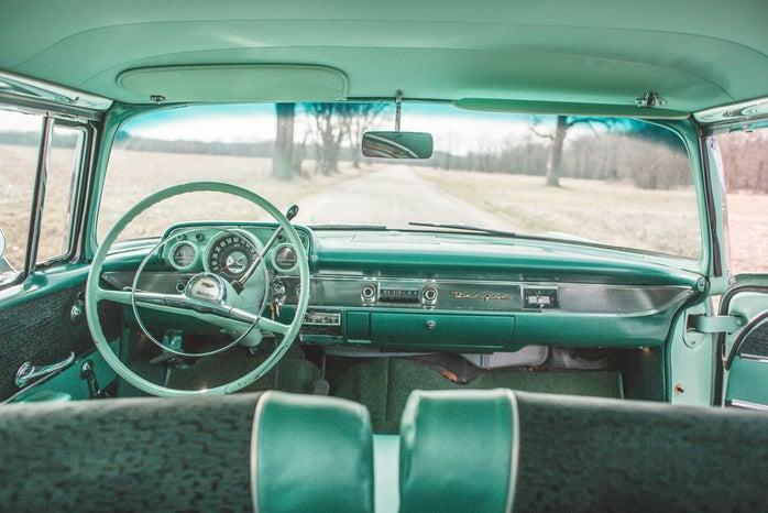 teal interior of car