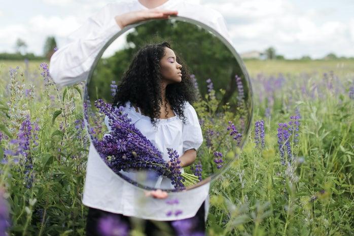 Woman in a lavender field