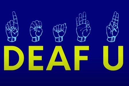 Blue background with yellow wording, deaf u