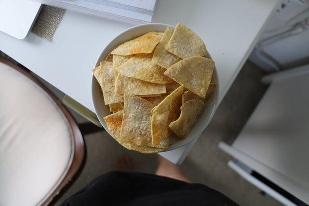 Original photo of my homemade tortilla chips