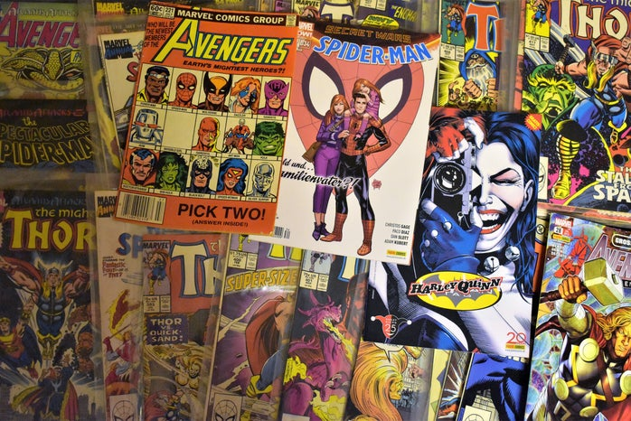 Flatlay of marvel comic books from the past
