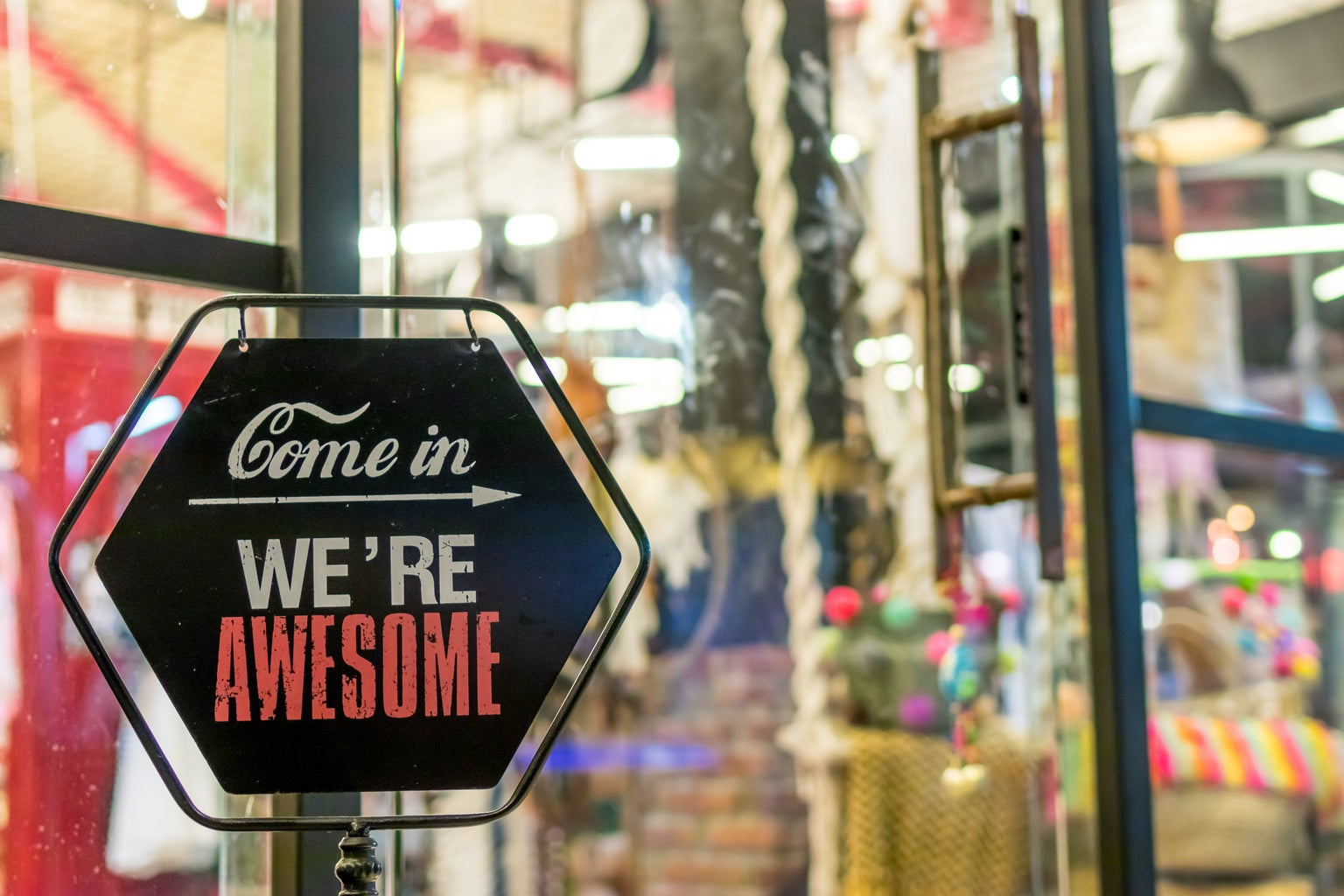 Come in We\'re Awesome sign