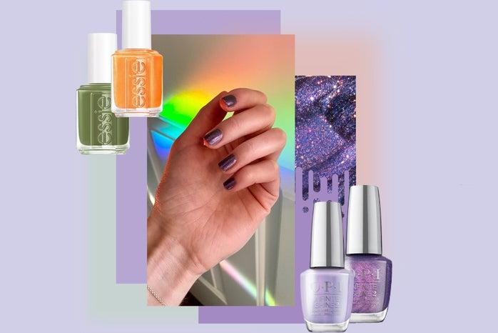 nails with nail polish bottles