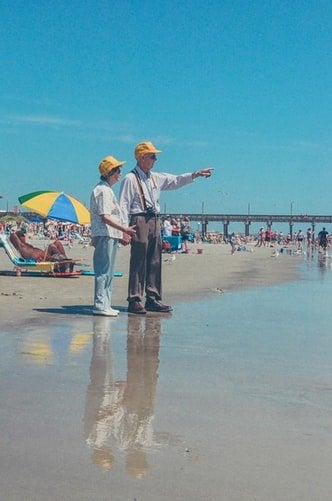 old couple at the beach