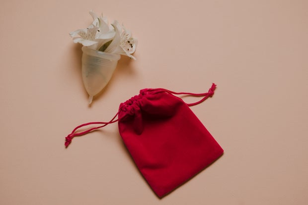Menstrual cup with flowers