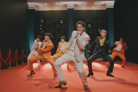 BTS performing at the 2021 Grammy Awards