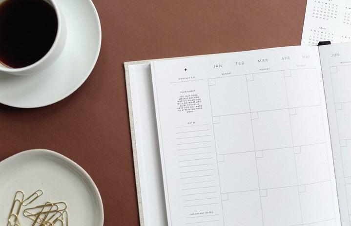 planner, coffee, empty