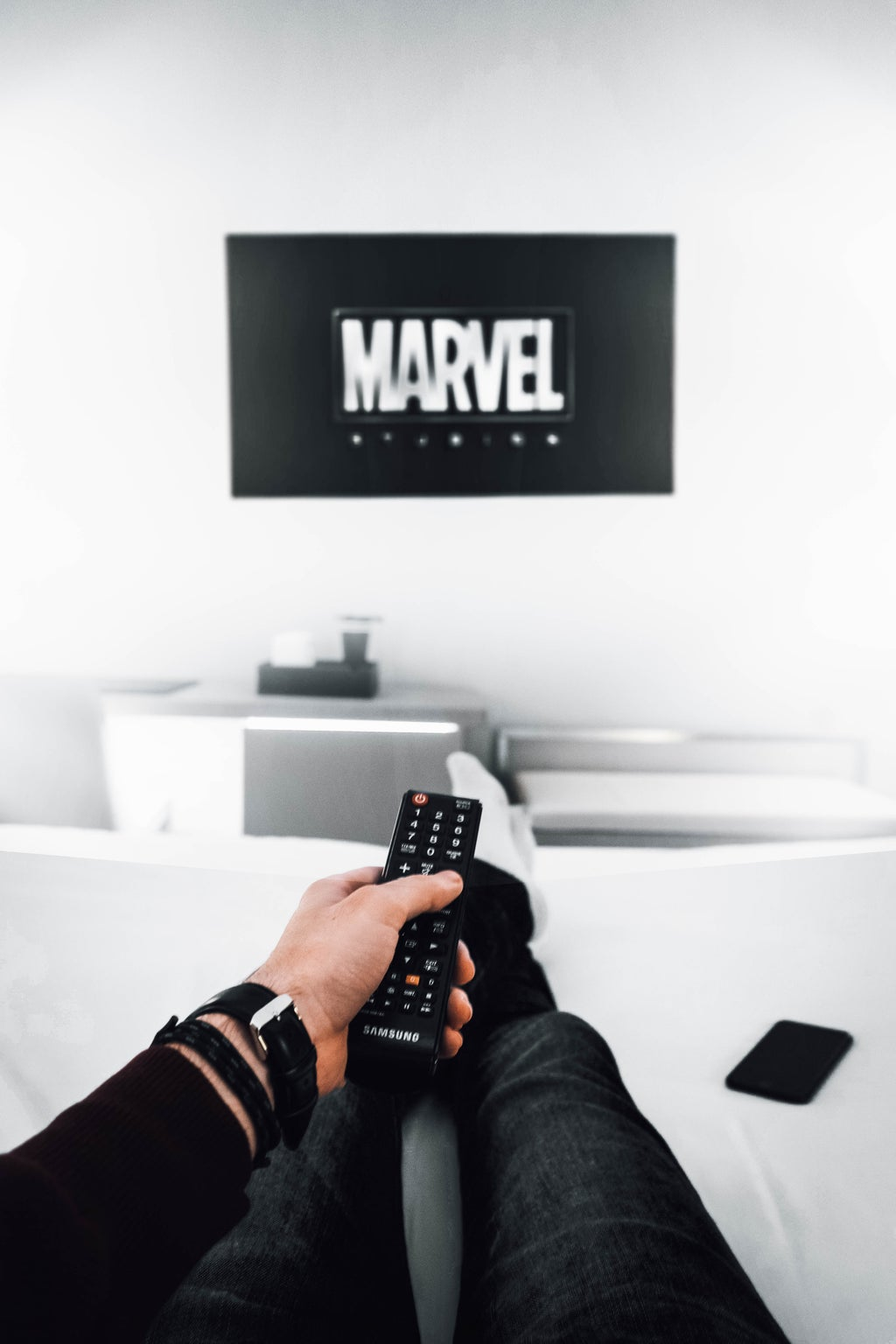 Person watching Marvel