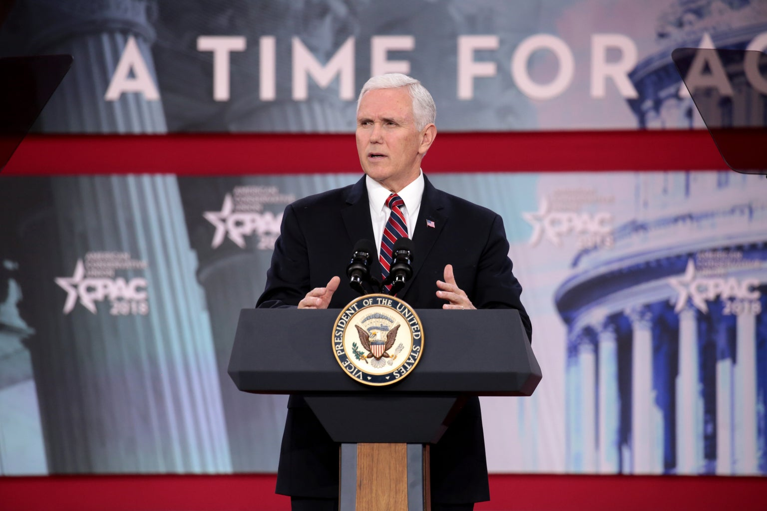 Vice President Mike Pence talking on stage