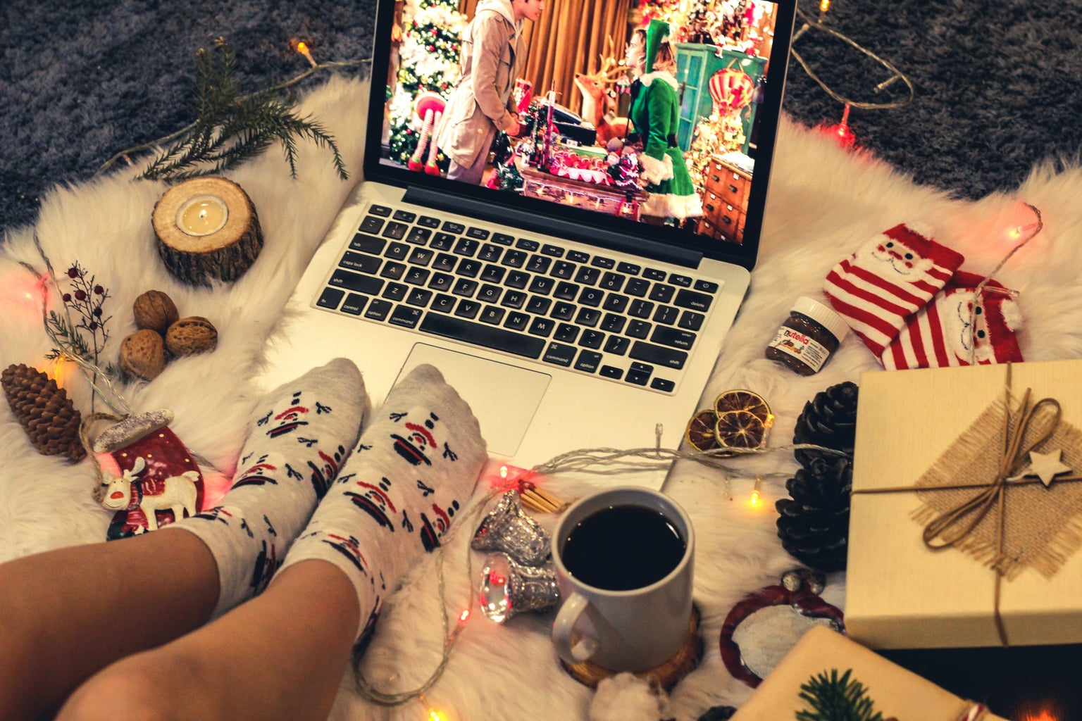 Watching holiday movie on laptop