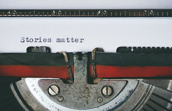close up of a typewriter with stories matter