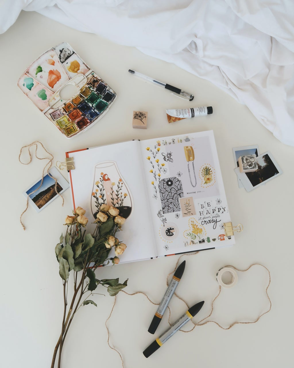 Flatlay photography of stuffs on white surface photo.