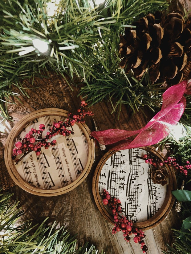 Homemade Christmas ornaments with garland