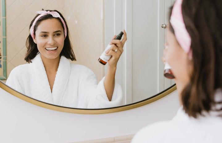 Skincare woman in mirror