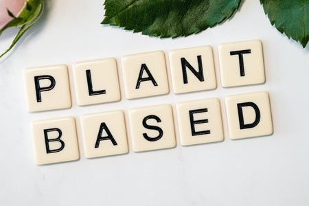 """Plant Based"" written on tiles on countertop"