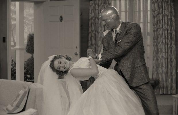 Wanda Maximoff in wedding dress with Vision