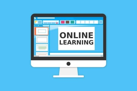 """clipart of a computer that says """"online learning"""""""