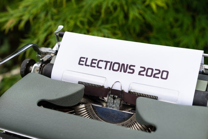 """Typewriter with """"Elections 2020"""" typed on paper"""