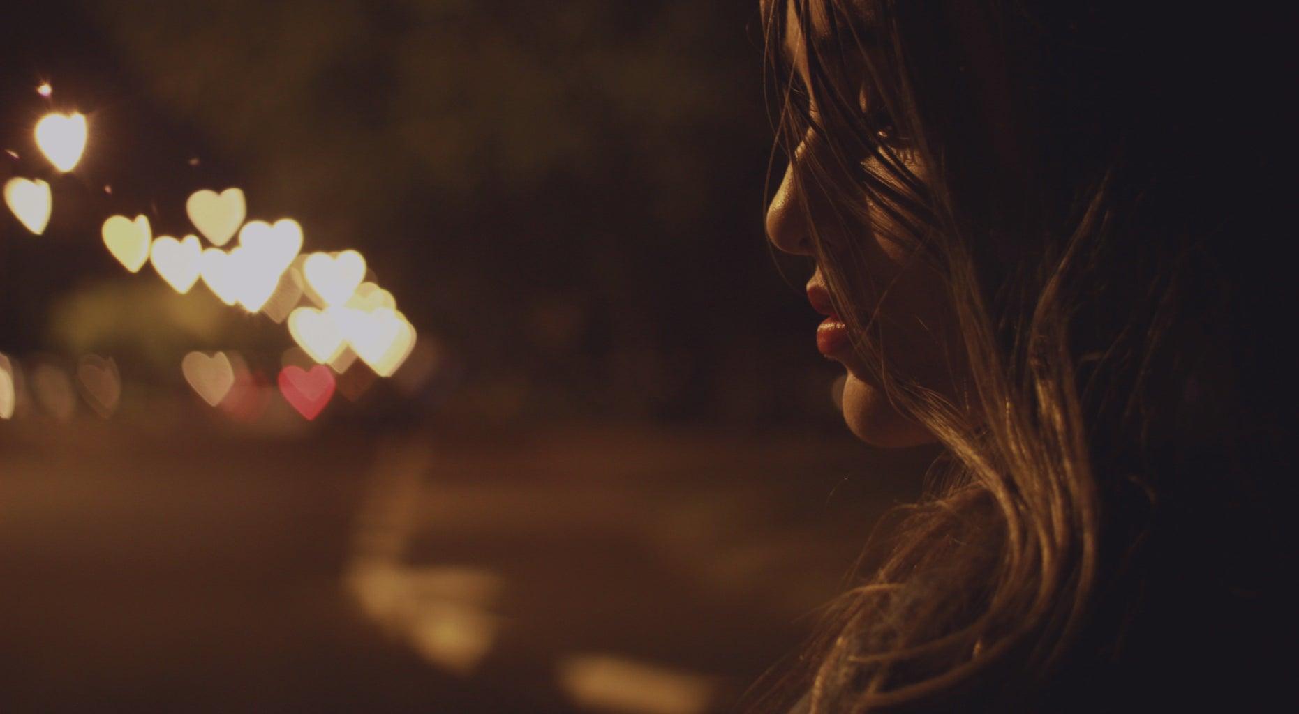 Girl sad at night