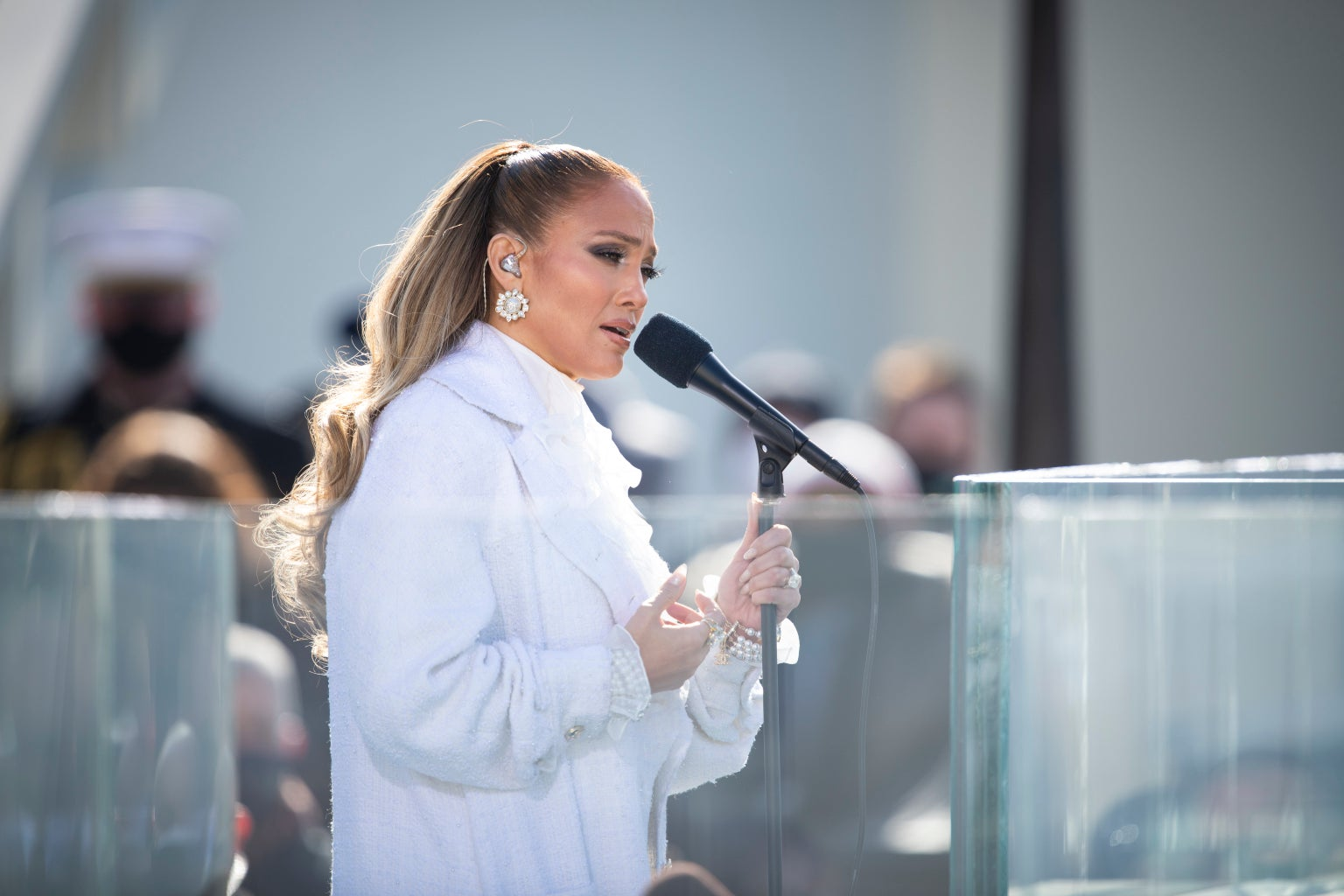 Jennifer Lopez singing at the 2021 presidential inauguration