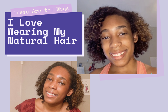 """Purple background, purple rectangles, pictures of woman, \""""These Are the Ways I Love Wearing My Natural Hair\"""""""