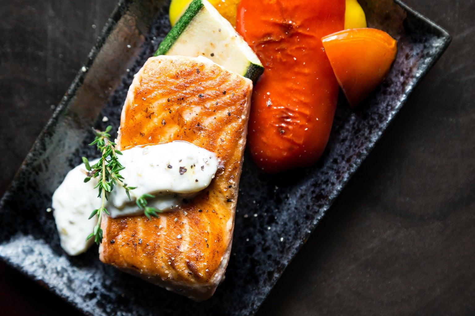 Grilled salmon on a plate